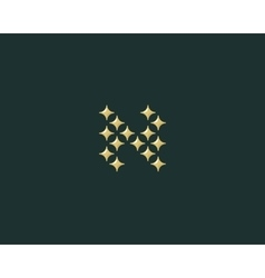 Stars letter n logotype luxury abc icon vector