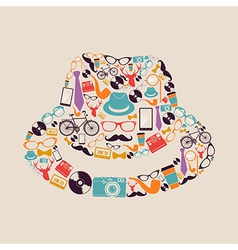 Vintage hipsters icons hat vector