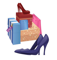 With shoe boxes and pairs of high-heel shoes vector