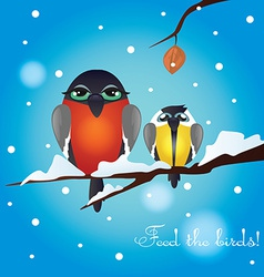 With the image of the hungry birds vector