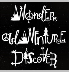 Wonder adventure discover lettering set vector