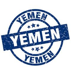 Yemen blue round grunge stamp vector