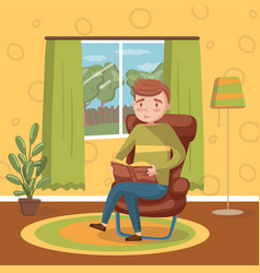 young man sitting on the chair and reading a book vector image