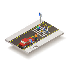 zebra crossing road composition vector image vector image