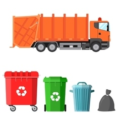 Garbage truck and four variants of dumpsters vector