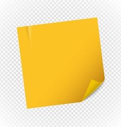 Yellow paper note sheet isolated on transparent vector