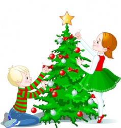 Children decorate a christmas tree vector
