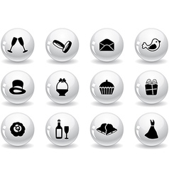 Web buttons wedding icons vector image