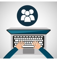 Person working laptop group social media graphic vector