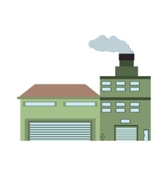 Building industry factory front view chimney vector