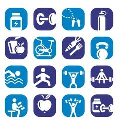 color bodybuilding icons set vector image