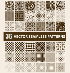 pack of 36 retro styled brown seamless patterns vector image