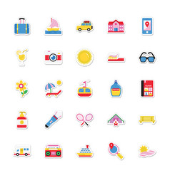 Summer and holidays icons 12 vector
