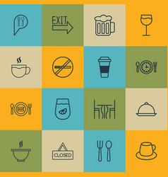 Set of 16 food icons includes tea mocha vector