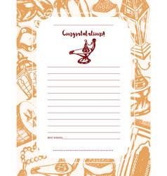 Muslim symbols - drawn template card vector