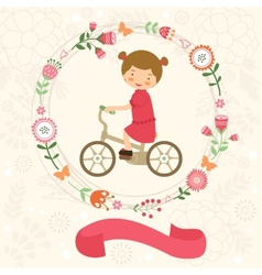 Little girl on bycicle vector image