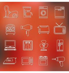 Home appliance outline icons vector