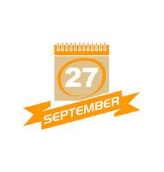 27 september calendar with ribbon vector