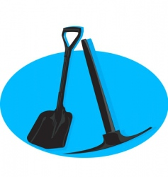 Shovel and pick axe vector