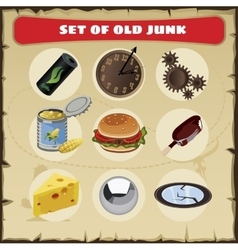 Set of junk 9 icons vector