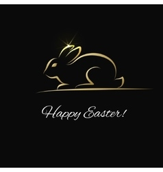 Easter greeting card with gold bunny vector