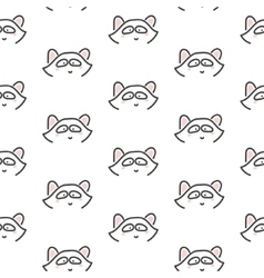 Racoon stylized line fun seamless pattern for kids vector