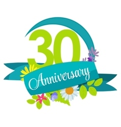 Cute nature flower template 30 years anniversary vector
