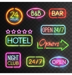 Neon Open Sign Set vector image