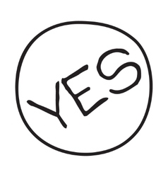 Doodle yes word icon vector