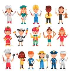 Kids And Professions Icons Set vector image