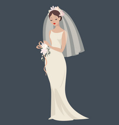 a bride in a wedding dress vector image vector image