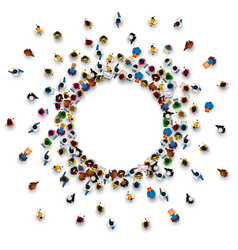 A lot of people stand in a circle vector