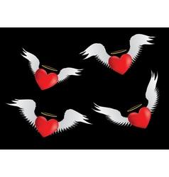 Angel hearts set vector image