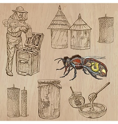 bees beekeeping and honey - hand drawn pack 8 vector image
