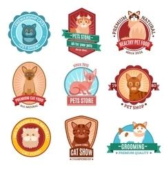 Cats emblem set vector