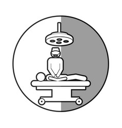 Circular frame shading with pictogram patient in vector