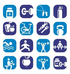 Color bodybuilding icons set vector