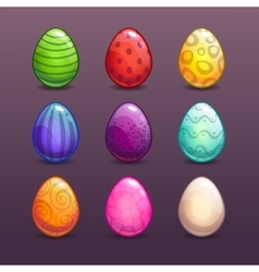 Colorful eggs in different colors vector image