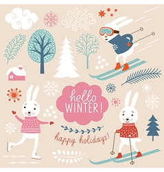 Cute rabbits and winter grachic elements vector image vector image