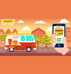 fast food delivery poster with commercial van vector image vector image