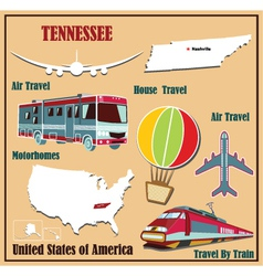 Flat map of Tennessee vector image vector image