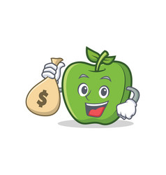 Green apple character cartoon with money bag vector