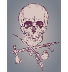 Hand drawn with human skull tomahawk and ca vector image