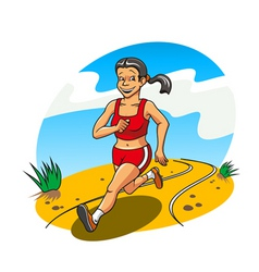 happy and cheerful running woman for lifestyle con vector image