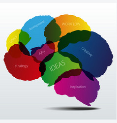 Human brain silhouette with business words vector