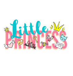 little princess lettering with girly doodles vector image