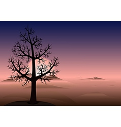 Lonely tree sunset mountains vector