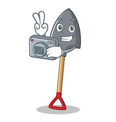 Photographer shovel character cartoon style vector