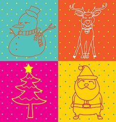 pop art christmas elements outline vector image