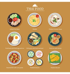 set of thai food flat design vector image vector image